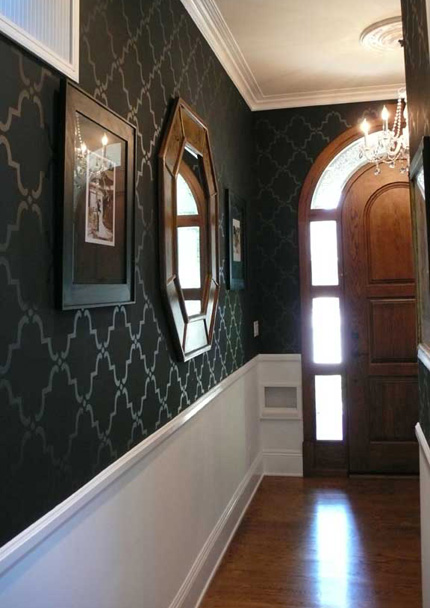 Like the look of a dark wall? Add a tone on tone stencil to give it a bit more glam.