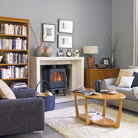 Grey Blue And Brown Living Room Design: Benjamin Moore Revere Pewter HC-172