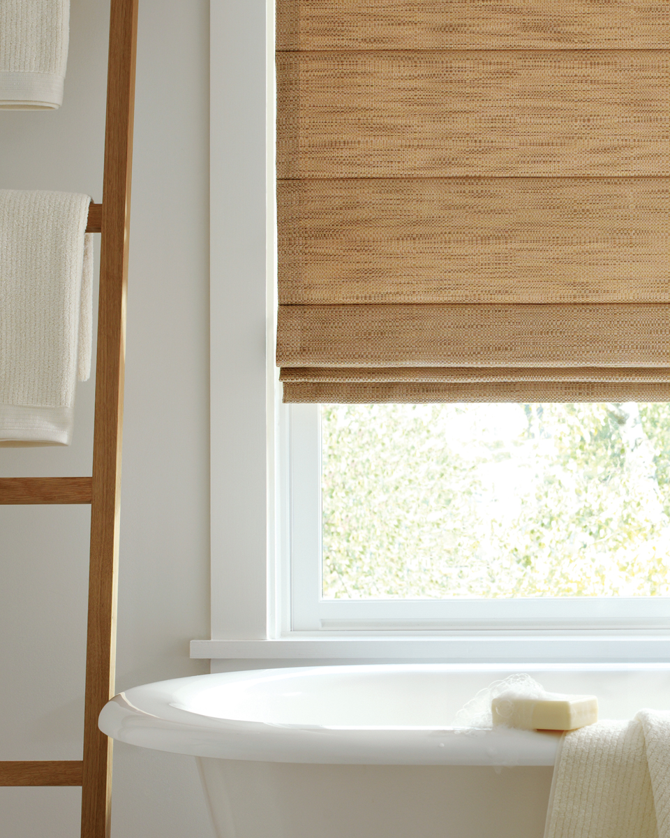 Hunter douglas design studio roman shade hirshfield 39 s for Blinds bathroom window