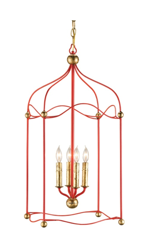 Lollipop Red (looks orangey) with Gold Accent Leaf lantern.