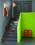 Benjamin Moore 1601 Hearthstone, 2028-30 Tequila Lime, 2124-10 Wrought Iron, 1307 Geranium