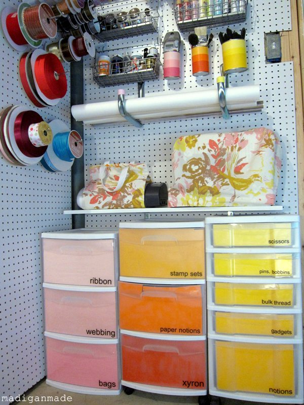 Craft storage ombre paint chip drawers pink orange yellow Homemade craft storage ideas