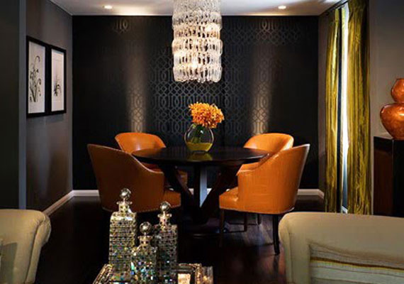 {modern interior design: using black and orange all year round}  Gentle- Black-Wall-Paint-in-Home-Interior3