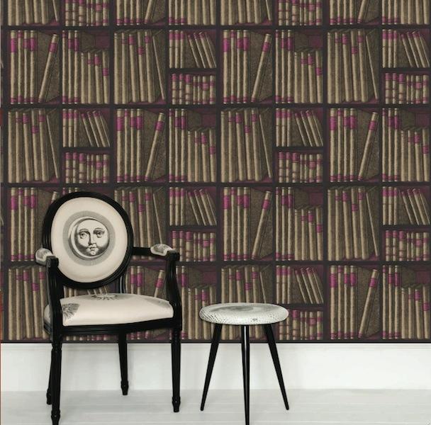 cole and son fornasetti ex libris book wallpaper. Black Bedroom Furniture Sets. Home Design Ideas