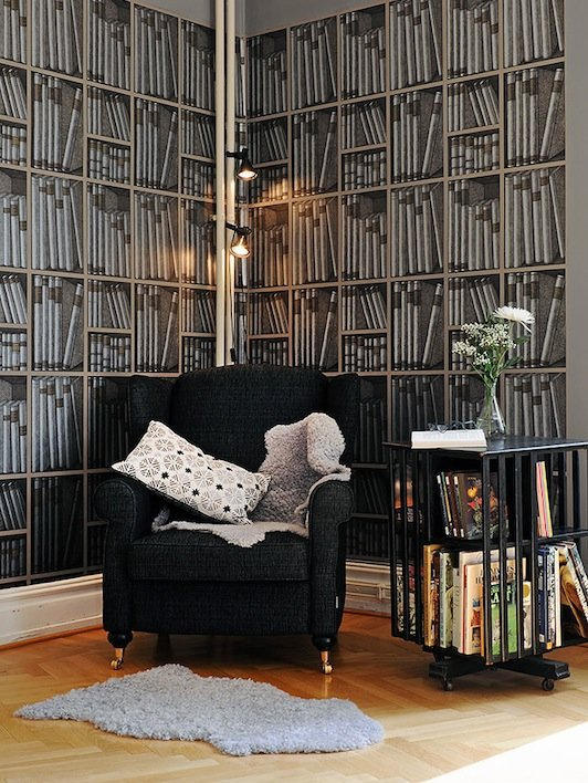 cole son fornasetti bookshelf wallpaper 1 hirshfield