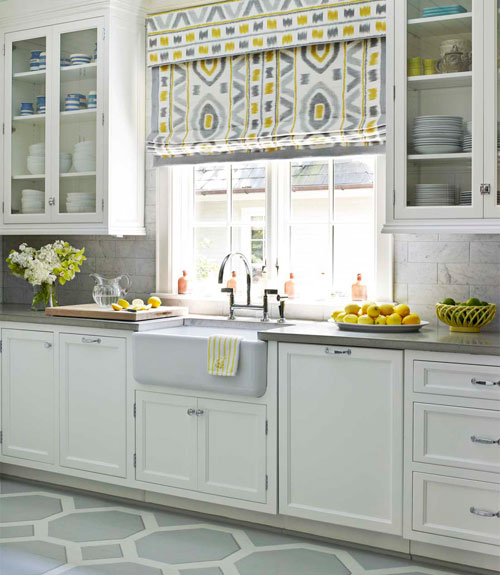 Hbx modern traditional kitchen painted pattern floors 0212 for Classic kitchen paint colors