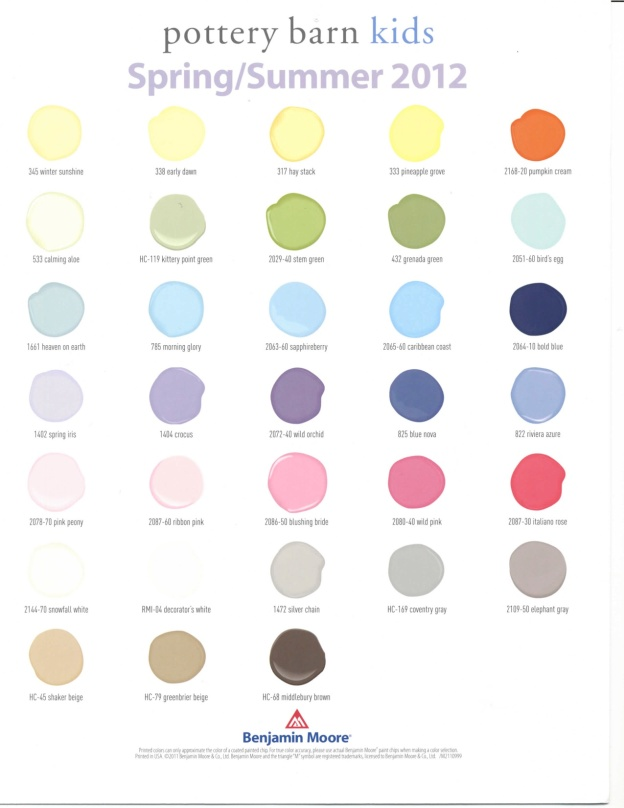 Pottery barn kids 2012 spring summer paint colors hirshfield s color