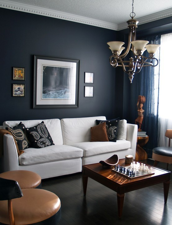 A living room you want to live in. Wall color is Ralph Lauren Urban Loft.