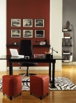 A comfortable looking office, color on the wall is Benjamin Moore Hot Apple Spice 2005-20.