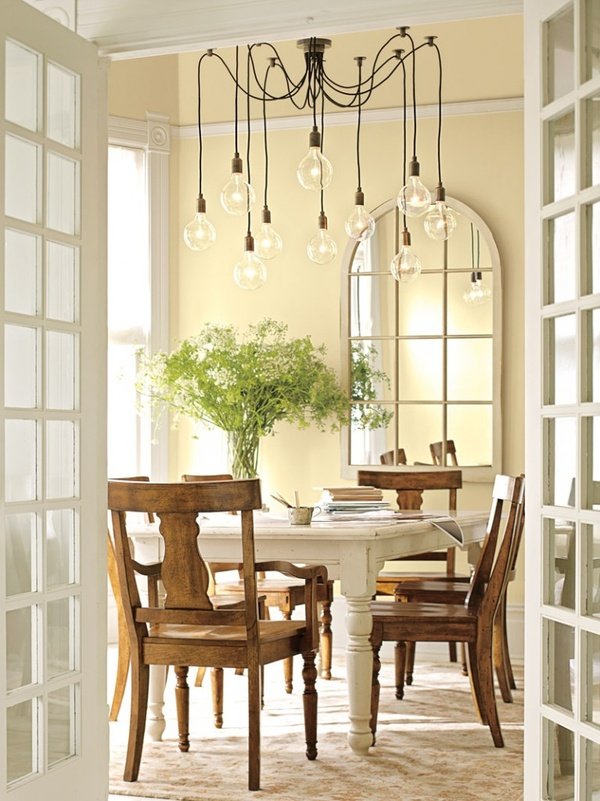 A dining room that could go formal or casual. Wall color is Benjamin Moore Vanilla Cookie-372.