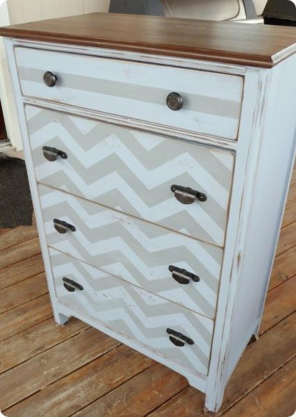 A chevron dresser makeover via Twice Lovely