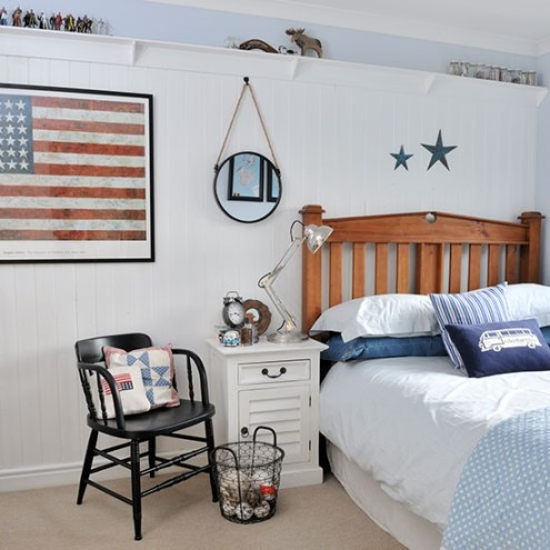 Friday finds decorating with red white and blue for New england style bed