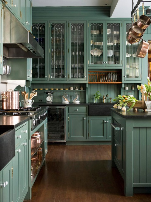 Kitchen cabinets painted green