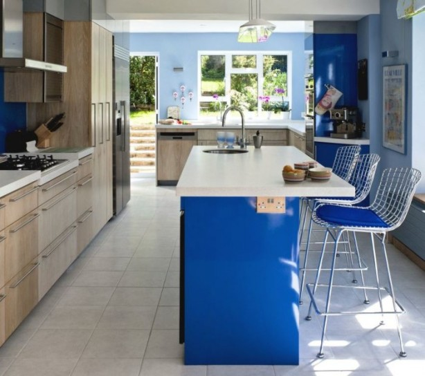 remodeled blue kitchen