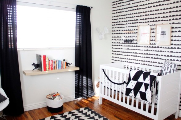 black and white baby's room