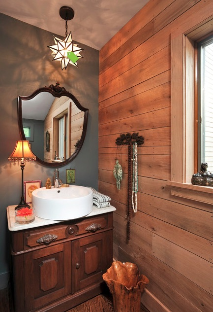 stained horizontal plank walls