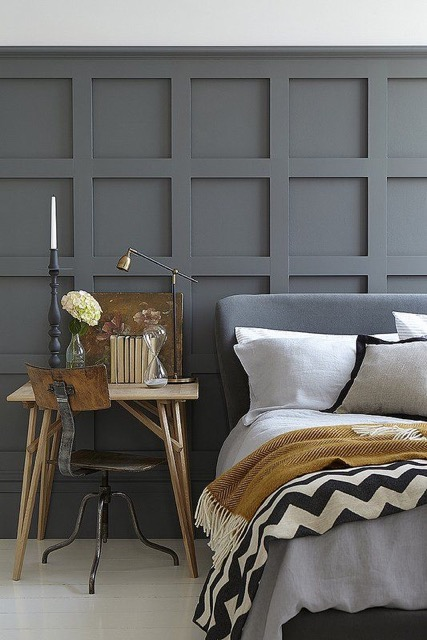 Gray walls with camel accents