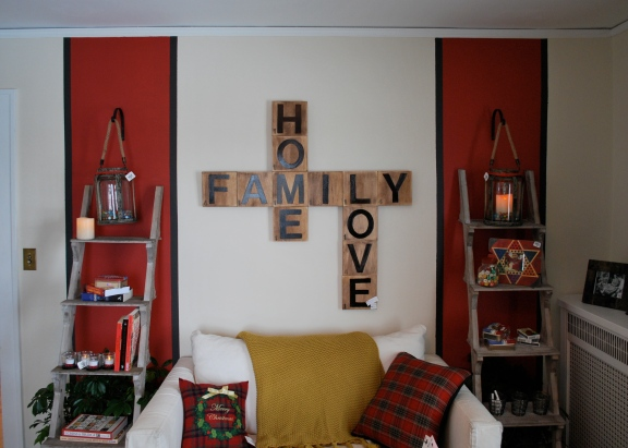 Another excellent DIY idea with the Scrabble wall art in the game room ...