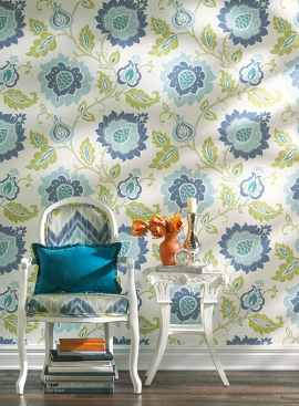 York Wallcoverings Jacobean Floral Teal