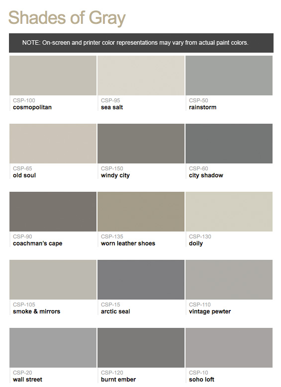 Paint Colors Hirshfield 39 S Color Club: different colours of grey paint