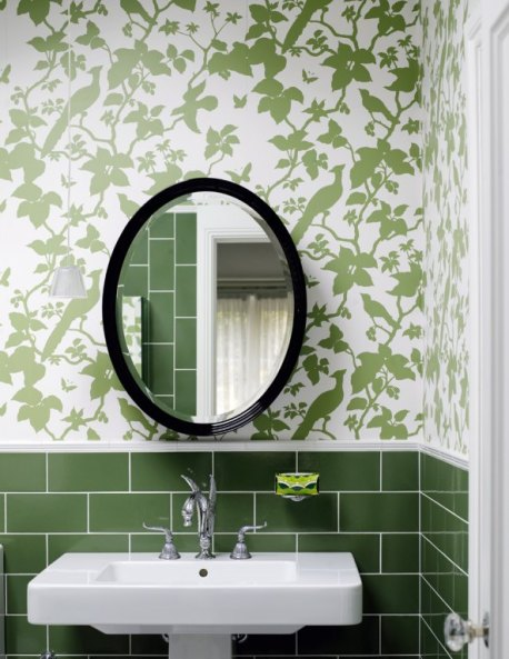 Green tile and wallpaper bathroom