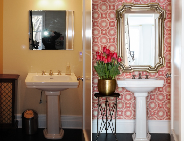 before and after with scion wallpaper in a bathroom