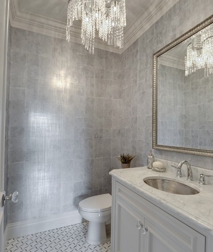 Silver metallic wallpaper