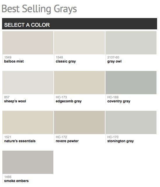 Benjamin Moore popular gray paint colors