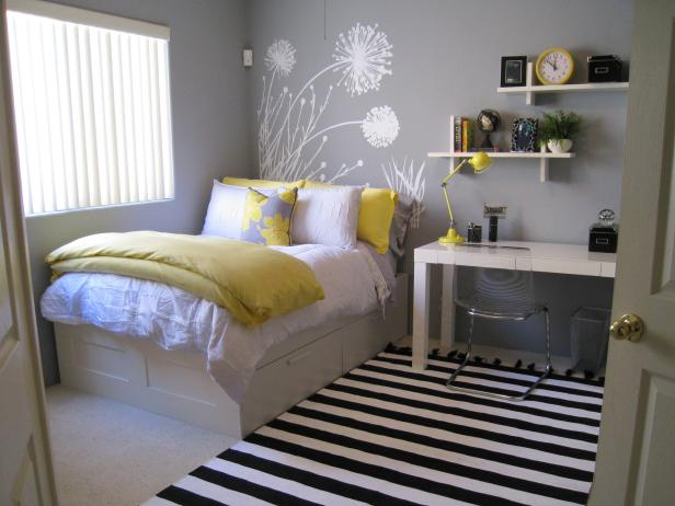 Gray and Yellow Teen Bedroom | HGTV