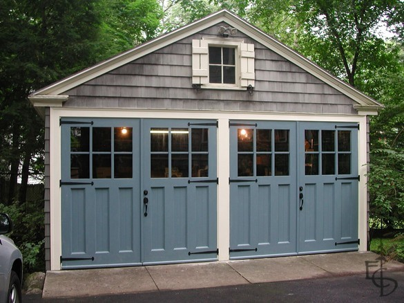 Steel blue garage doors