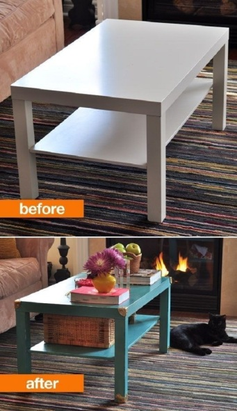before and after painted coffee table