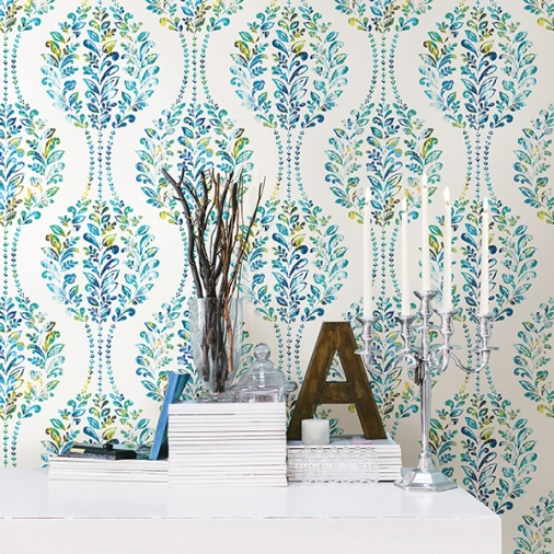 Versailles Teal Floral Damask | Mirabelle from A-Street Prints