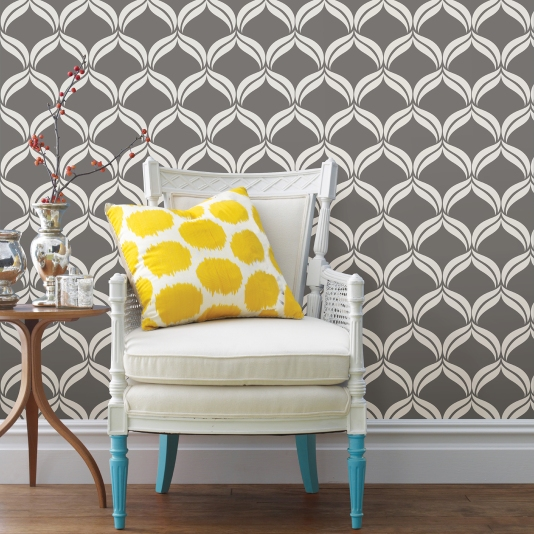 Yellow accent pillow gray wallcovering