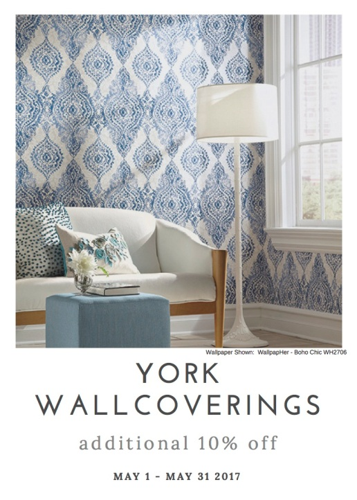 Whether your personal style is contemporary, shabby chic, traditional, or transitional, York has a wallpaper for you and a sale for you.
