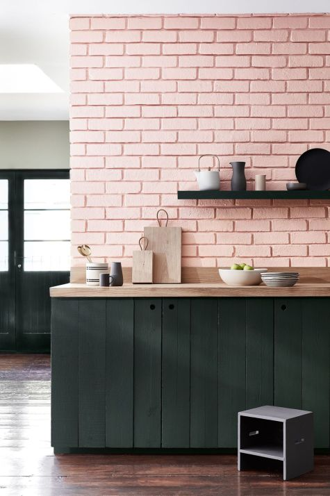 pink walls in a kitchen